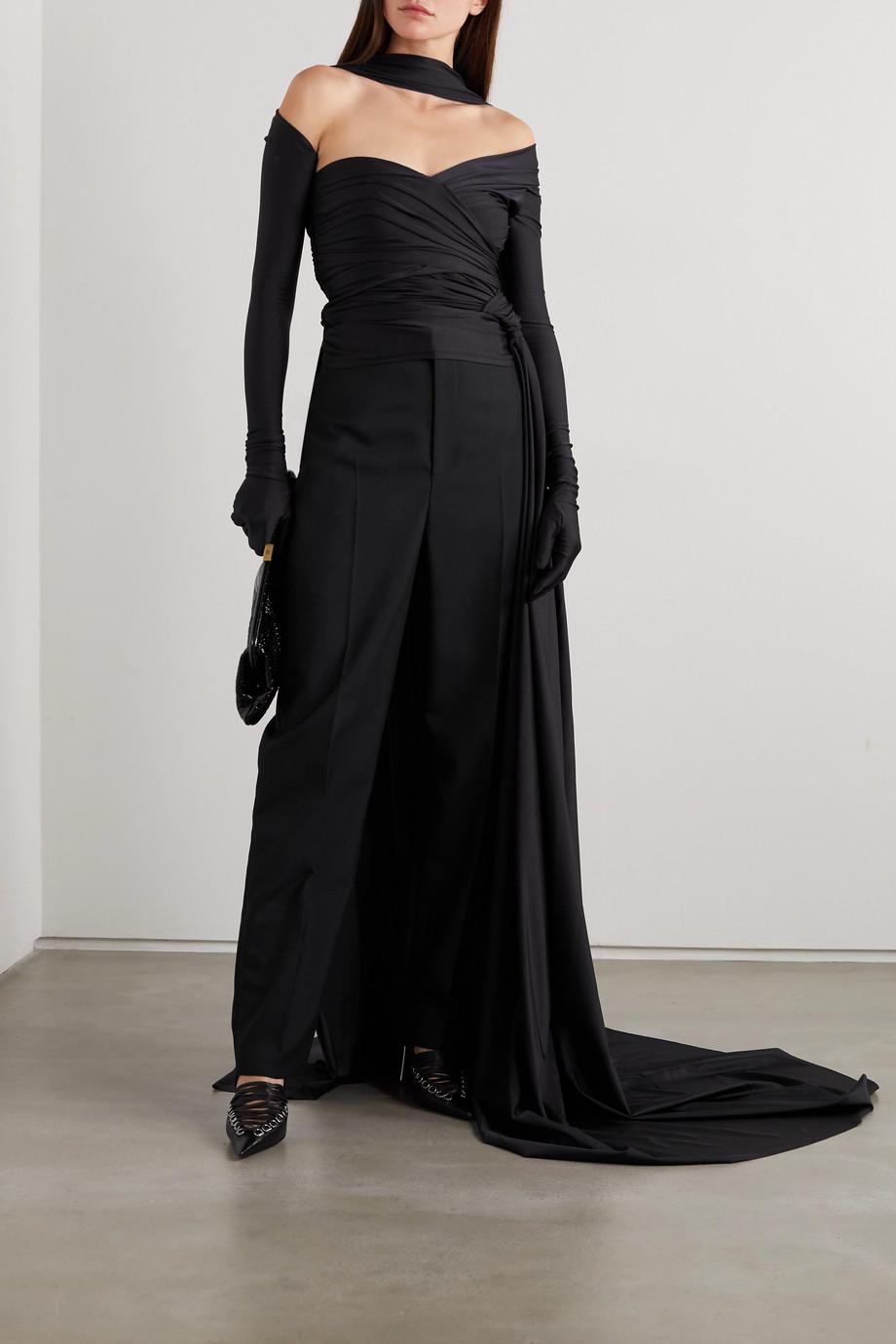 Balenciaga Cape-effect cold-shoulder stretch-jersey top