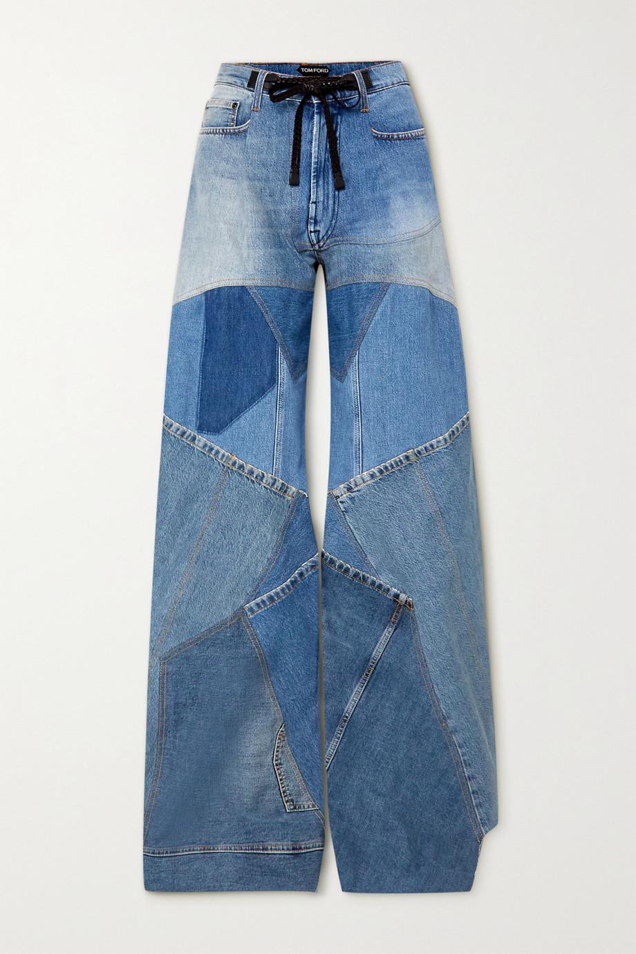 TOM FORD Hoch sitzende Jeans mit weitem Bein, Lederbesatz und Distressed-Details in Patchwork-Optik