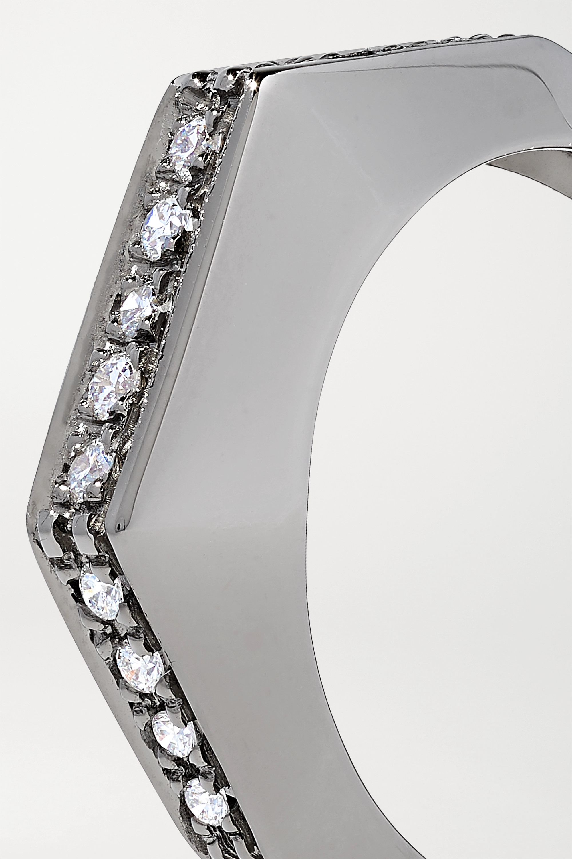 Or Blanc Bijou D'oreille Convertible En 18 Carats Noirci Et Diamants Sabrina | Eéra