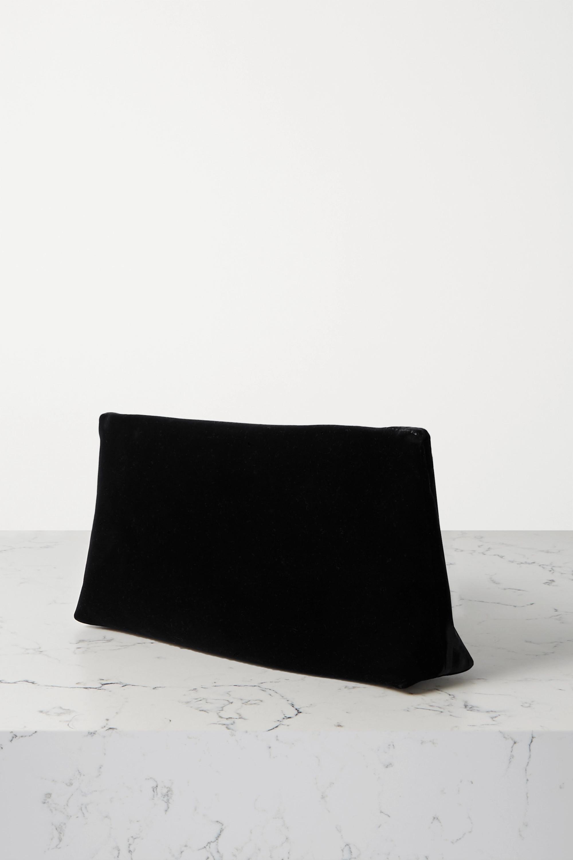 TOM FORD Label leather-trimmed velvet shoulder bag