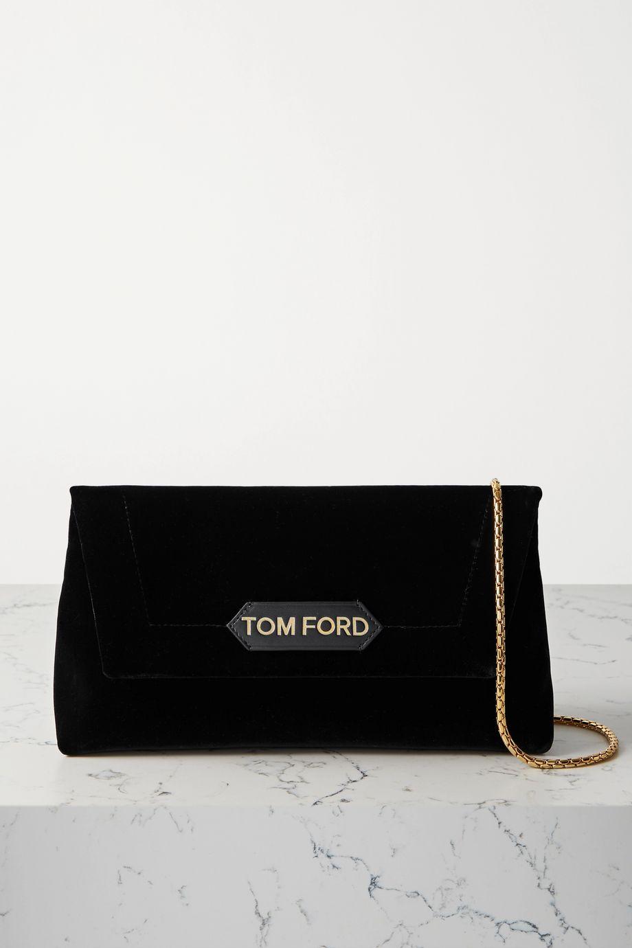 TOM FORD Label Schultertasche aus Samt mit Lederbesatz
