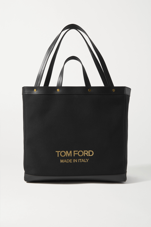 TOM FORD T Screw Shopper mittelgroße Tote aus Canvas mit Lederbesätzen