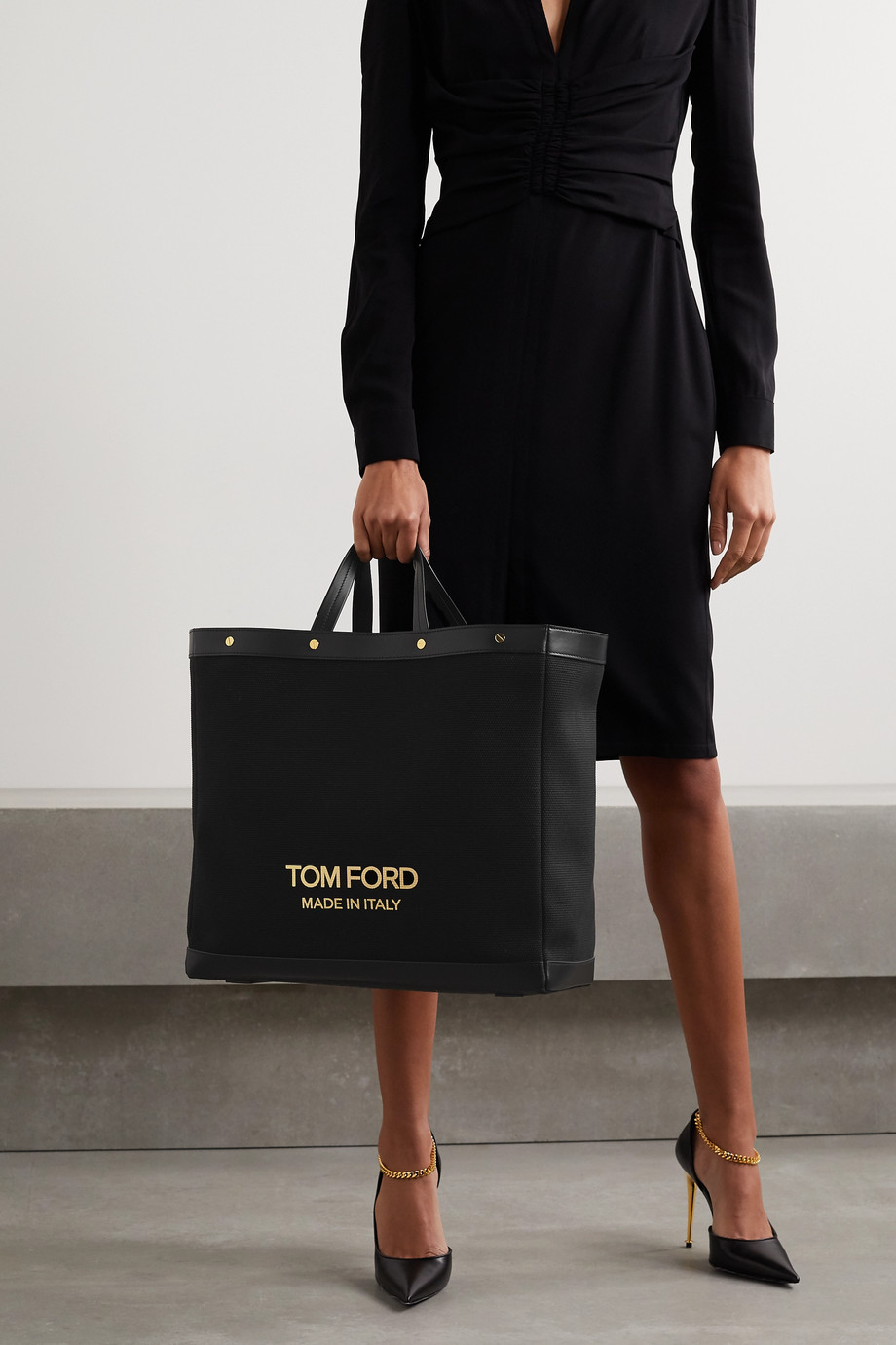 TOM FORD T Screw Shopper mittelgroße Tote aus Canvas mit Lederbesätzen