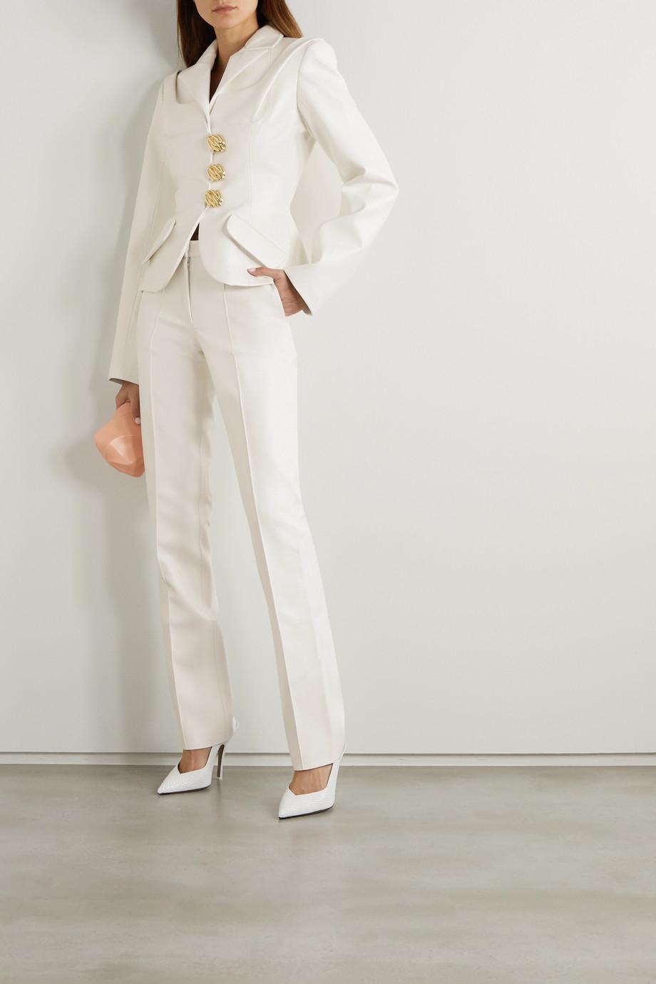 Lado Bokuchava Button-embellished paneled faux leather blazer