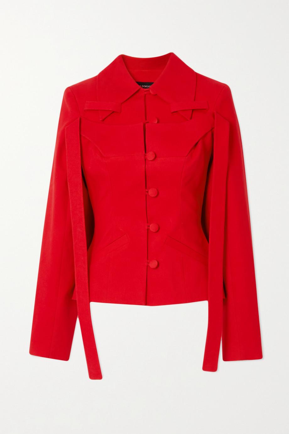 Lado Bokuchava Draped paneled cotton-twill blazer