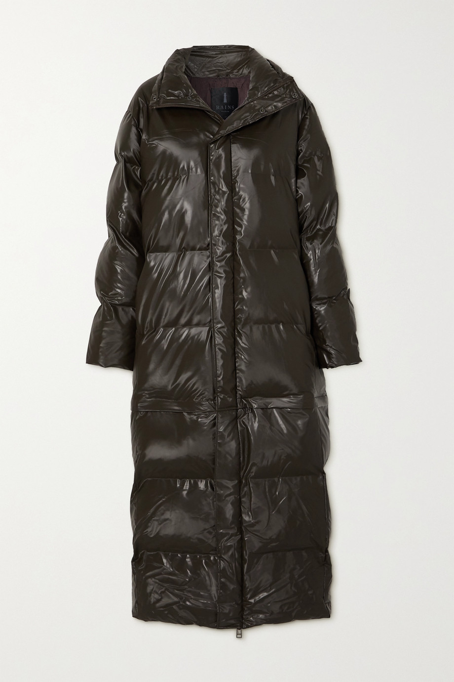 Rains Convertible quilted padded glossed-shell coat