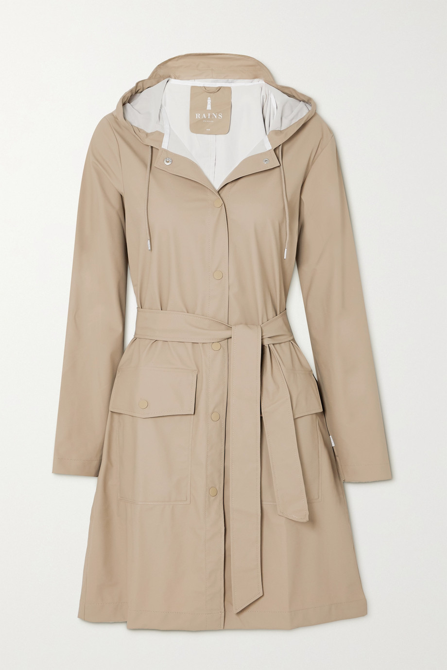 Rains Belted hooded shell coat