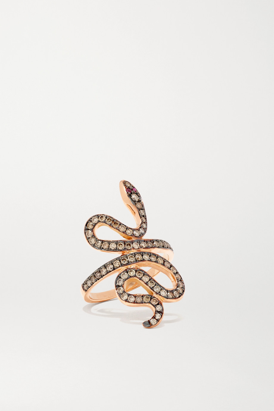 Ileana Makri Slither 18-karat rose gold, diamond and ruby ring