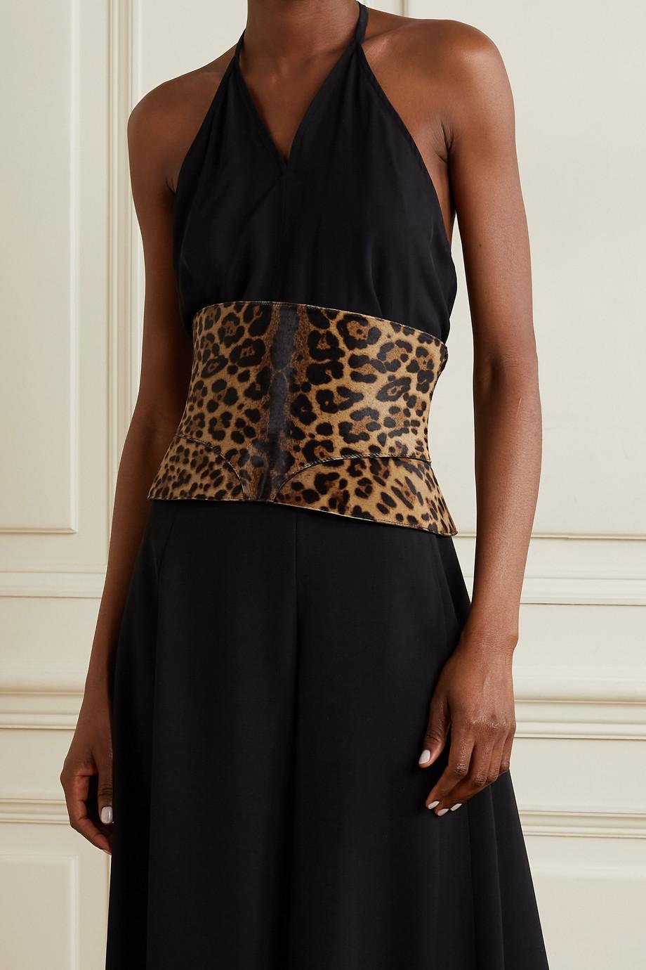 Alaïa Leopard-print calf hair waist belt