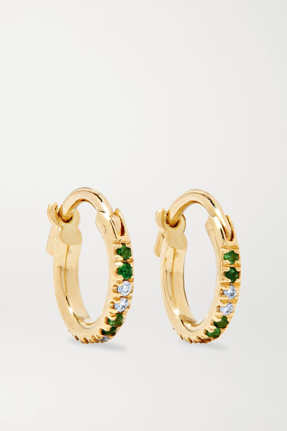 Ileana Makri 18-karat gold, tsavorite and diamond hoop earrings