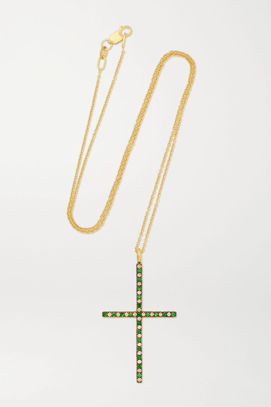 Ileana Makri Kette aus 18 Karat Gold mit Tsavoriten und Diamanten
