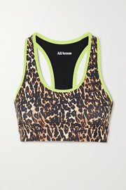 All Access Front Row leopard-print stretch sports bra