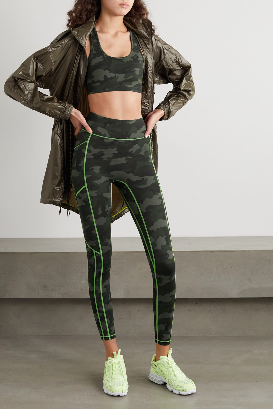 All Access Front Row camouflage-print stretch sports bra