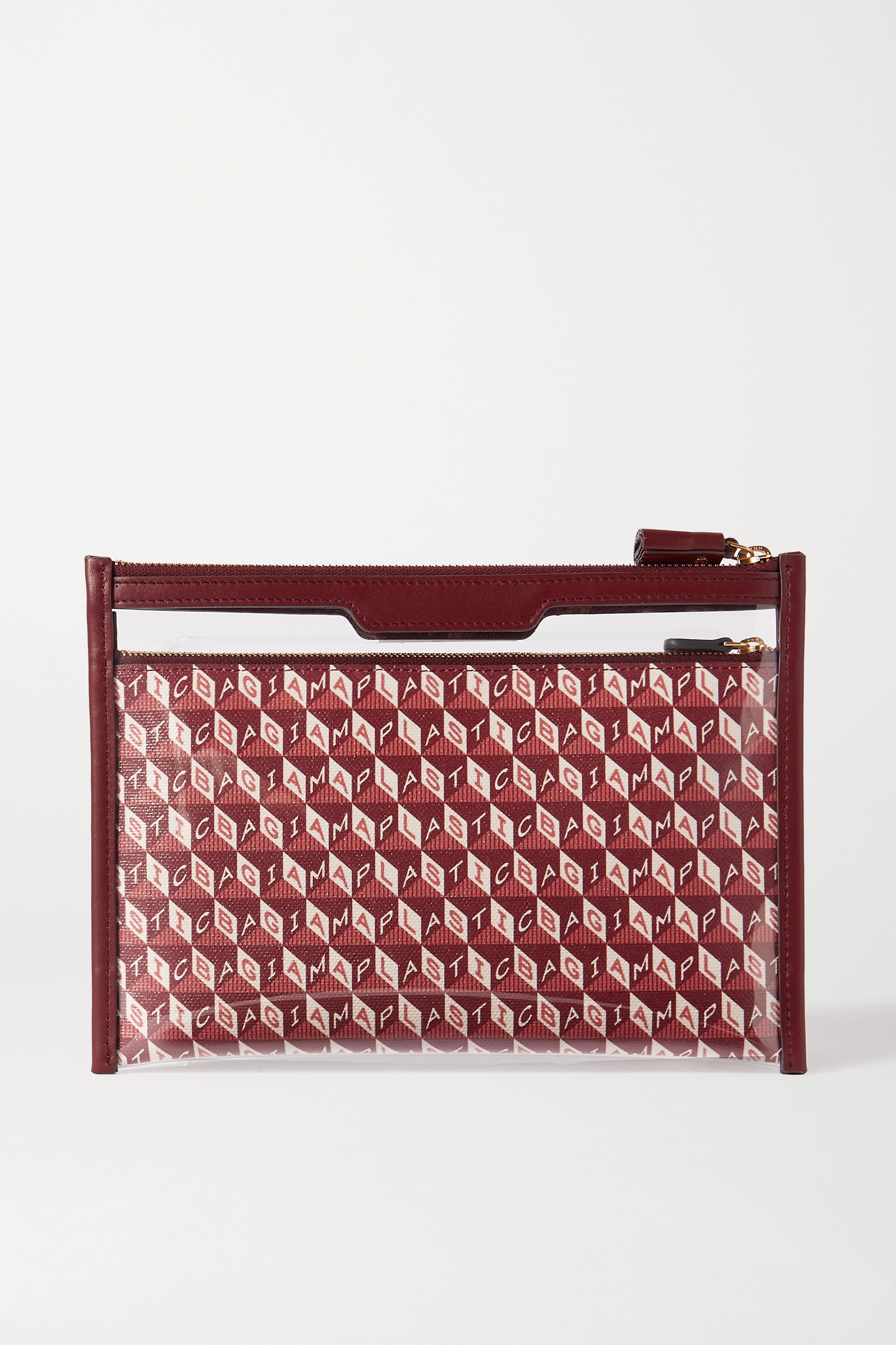 Anya Hindmarch Safety Deposit leather-trimmed printed coated-canvas and PVC pouch