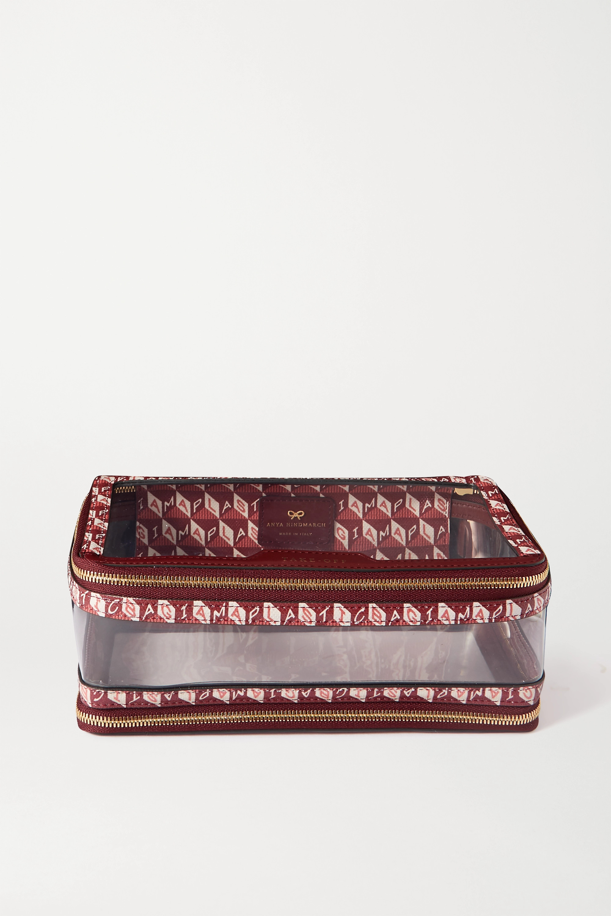 Anya Hindmarch In-Flight leather-trimmed printed coated-canvas and PVC cosmetics case