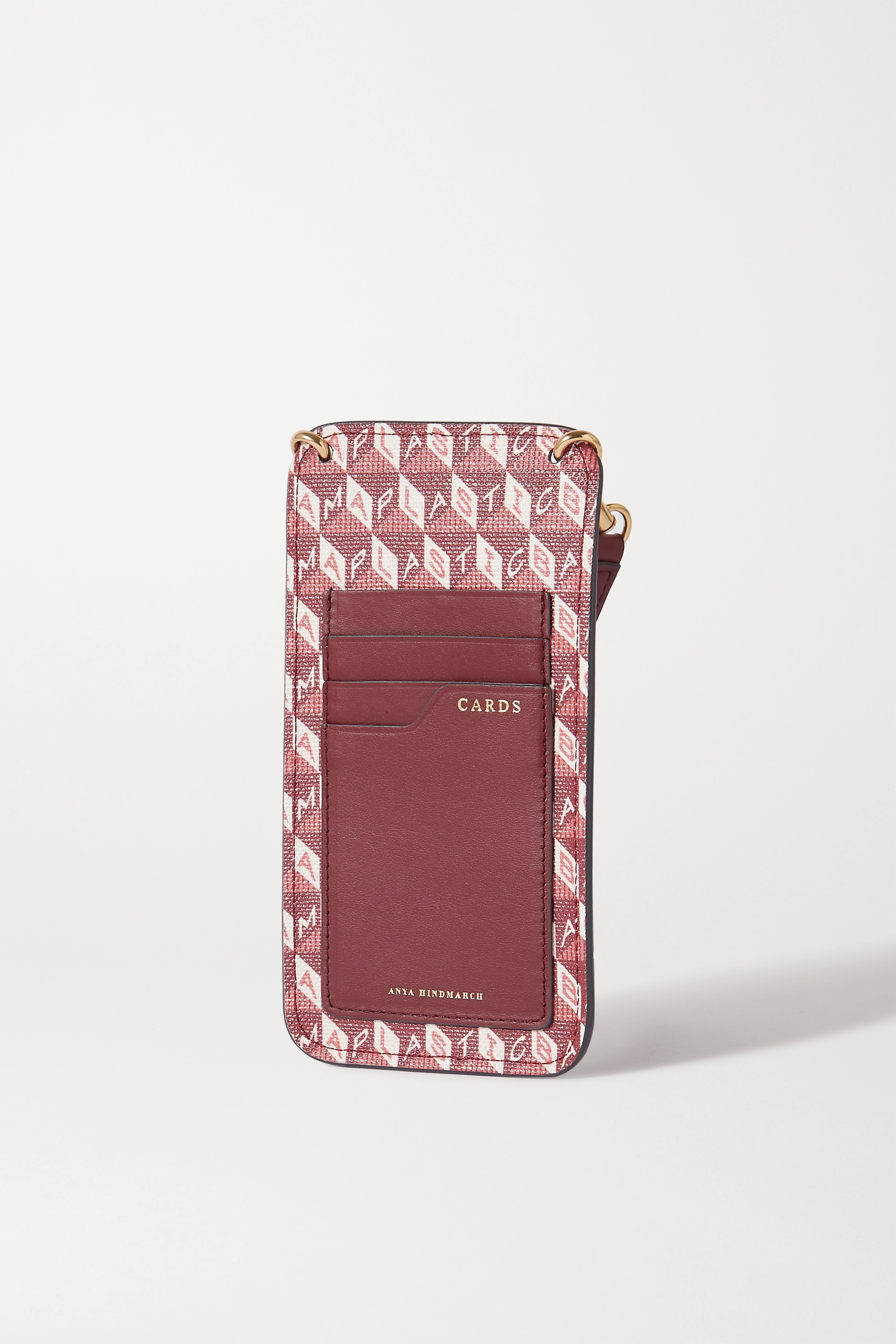 Anya Hindmarch I Am a Plastic Bag leather-trimmed printed coated-canvas phone case