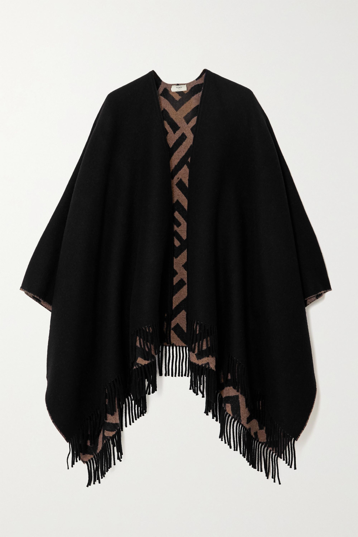 Fendi Châle réversible en laine et cachemire mélangés intarsia à franges