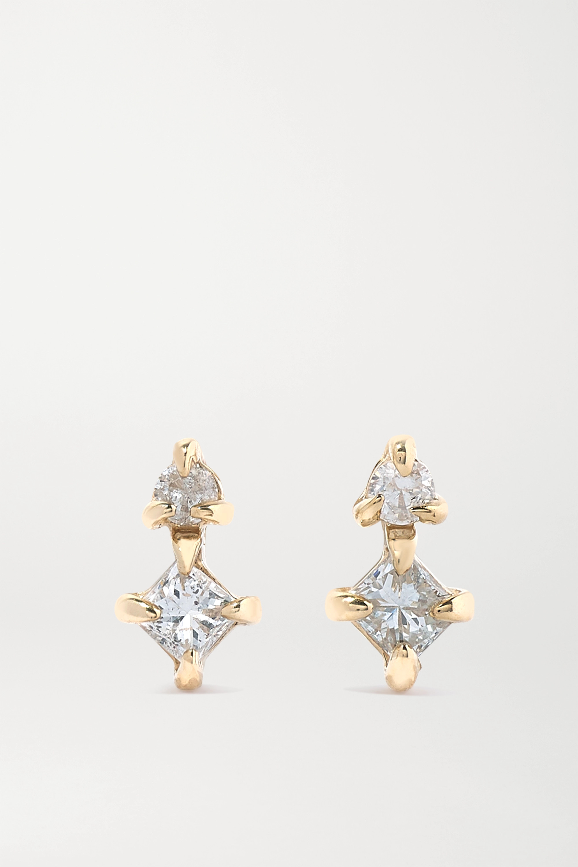 STONE AND STRAND Gold diamond earrings