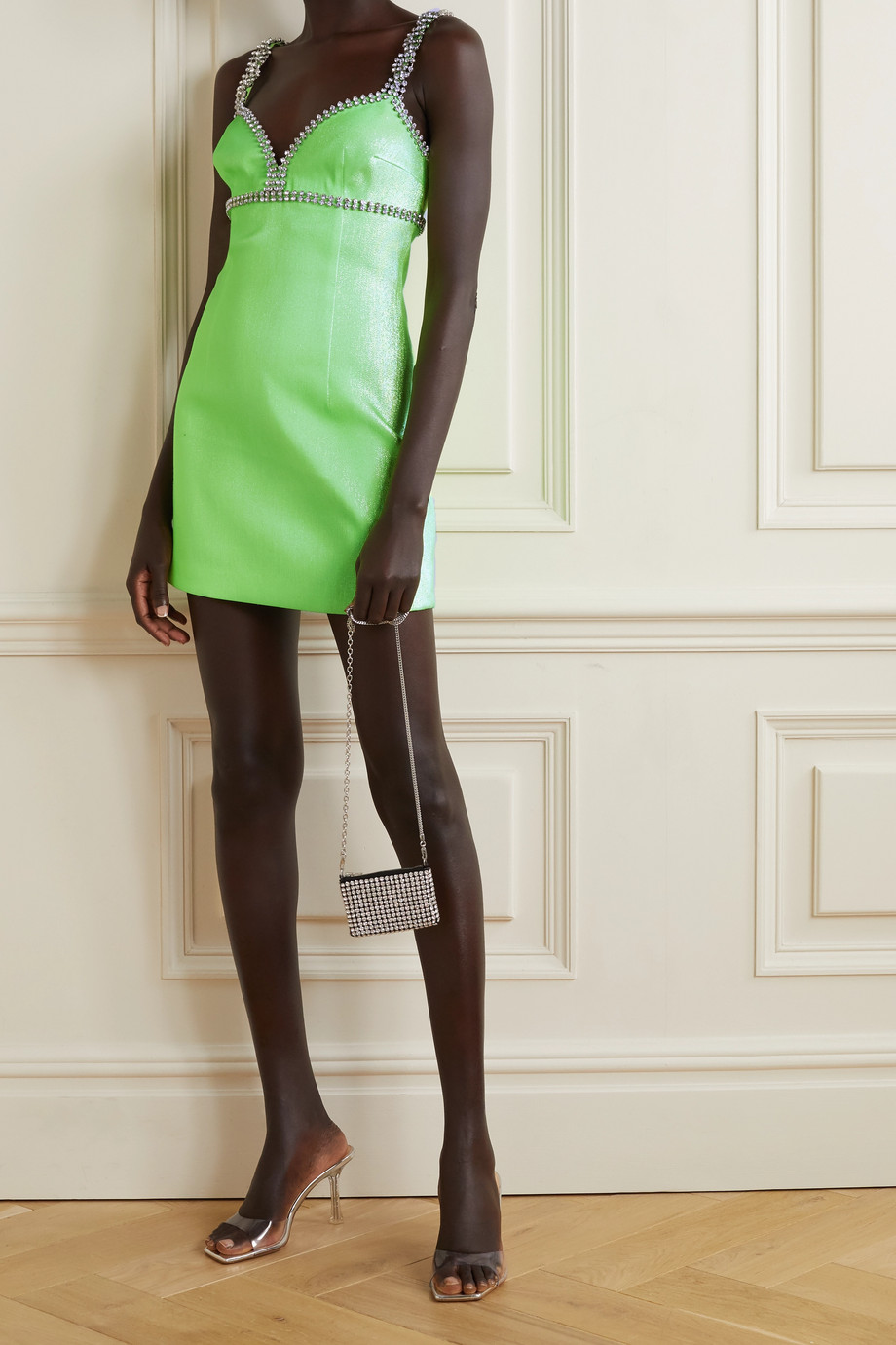 AREA Crystal-embellished neon Lurex mini dress