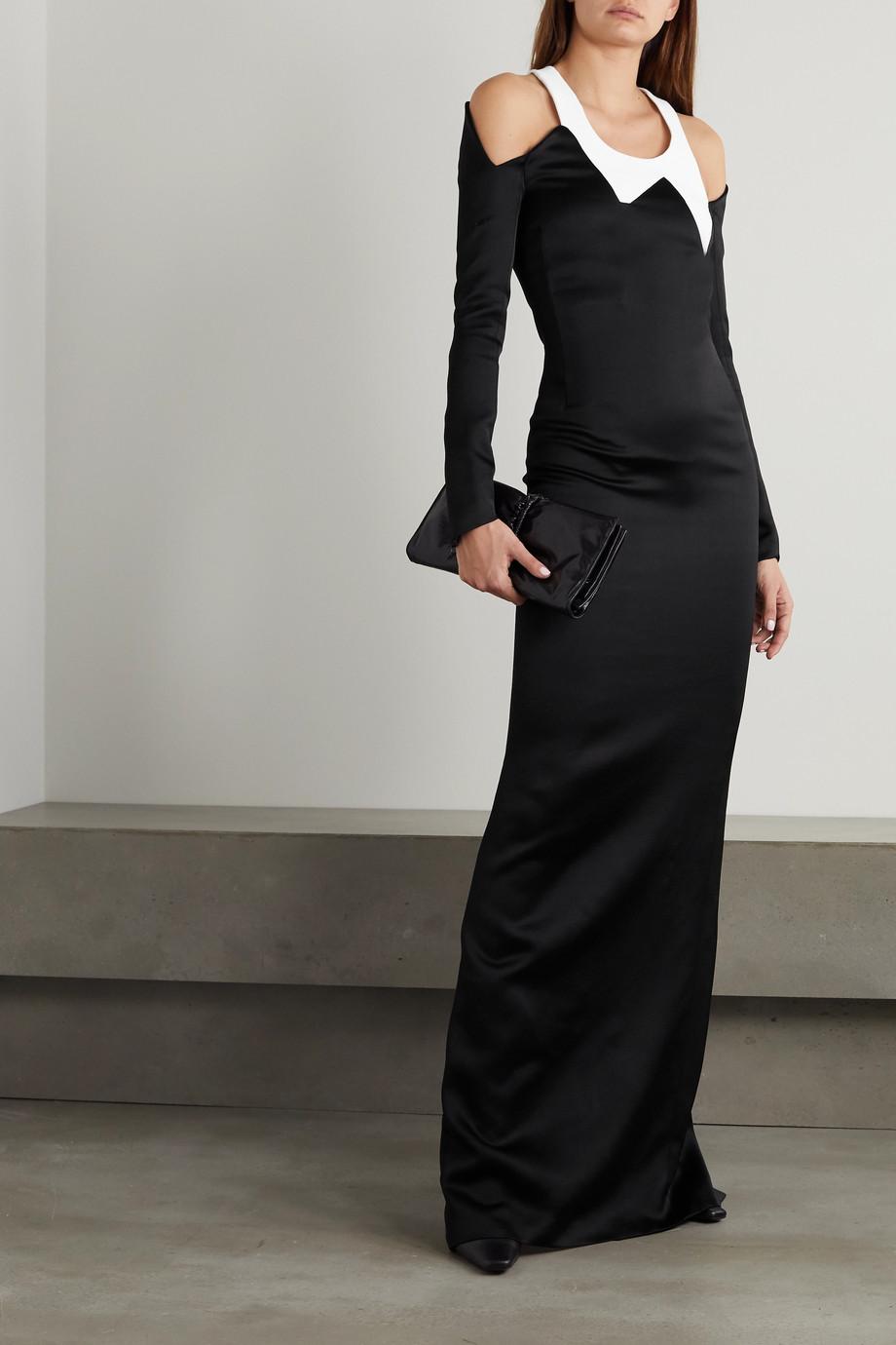 Haider Ackermann Cutout satin and crepe maxi dress
