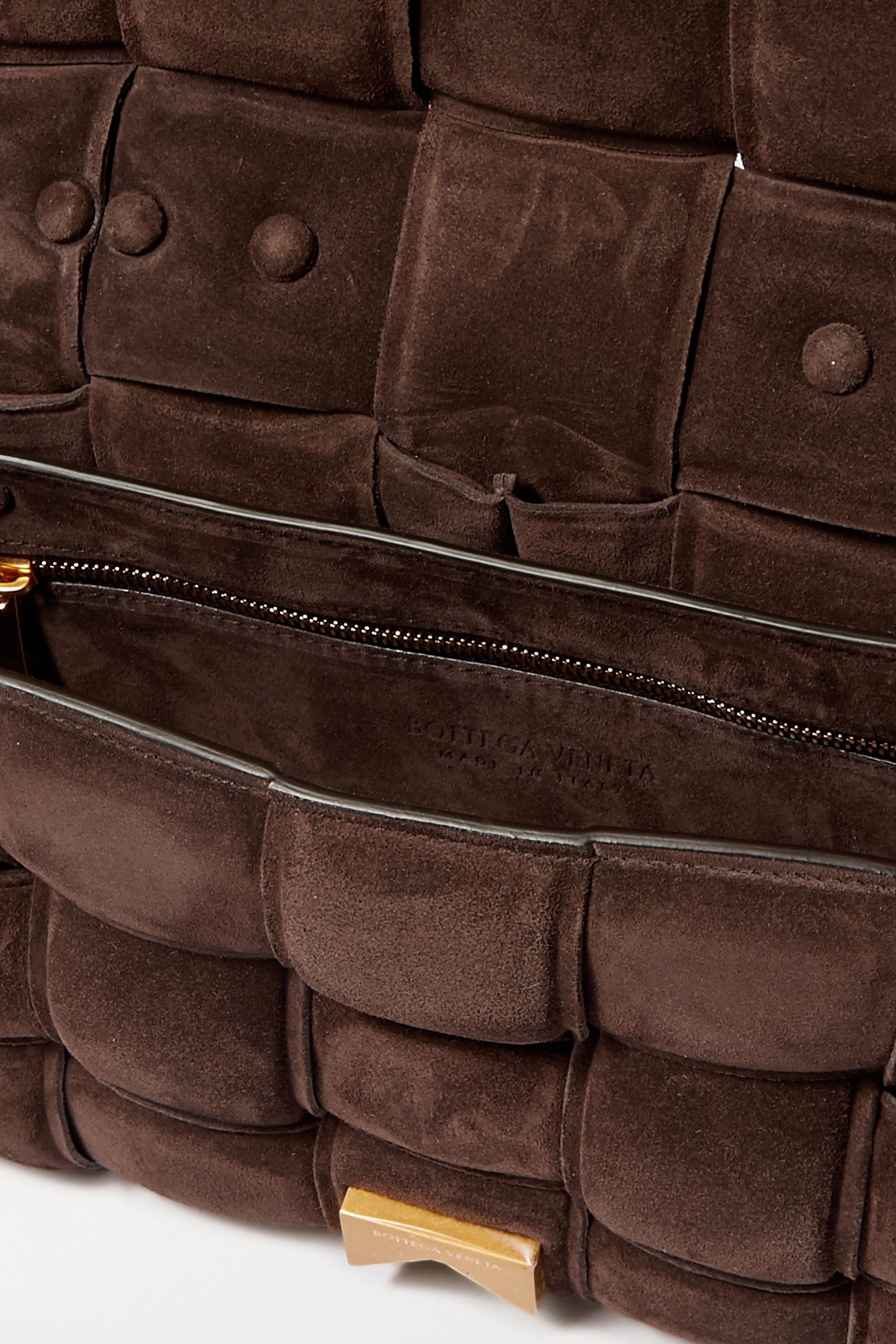 Bottega Veneta Sac porté épaule en daim intrecciato matelassé à chaîne Cassette