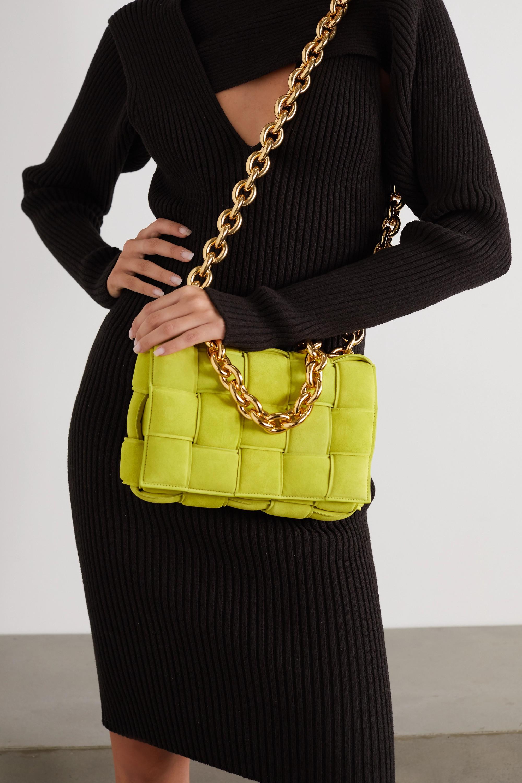 Bottega Veneta Cassette chain-embellished padded intrecciato suede shoulder bag