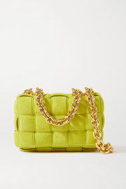 Bottega Veneta Cassette chain-embellished padded intrecciato suede shoulder bag