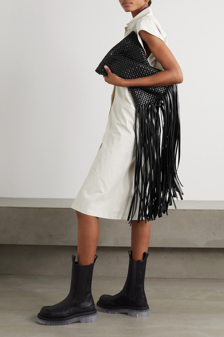 Bottega Veneta Fringe twisted intrecciato leather clutch