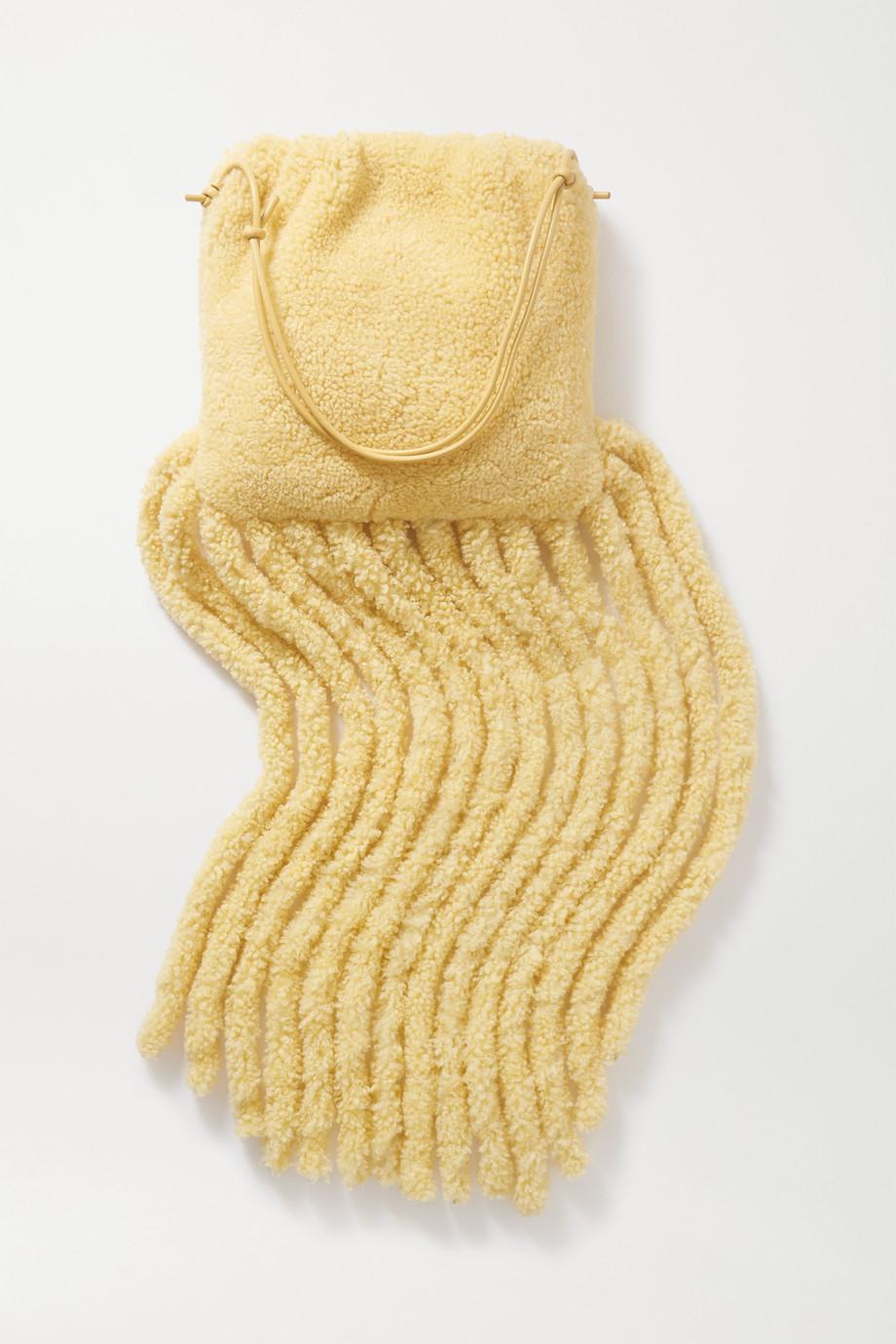 Bottega Veneta 流苏羊毛皮边饰皮革单肩包