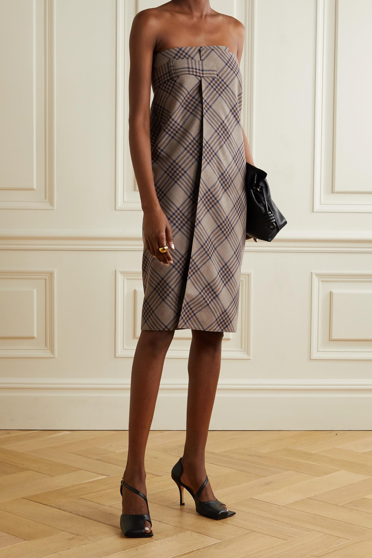 Wright Le Chapelain Checked merino wool wrap midi skirt