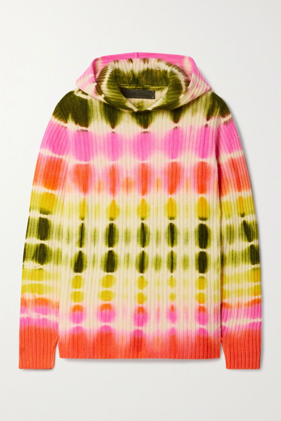 The Elder Statesman Slice tie-dyed ribbed cashmere hoodie