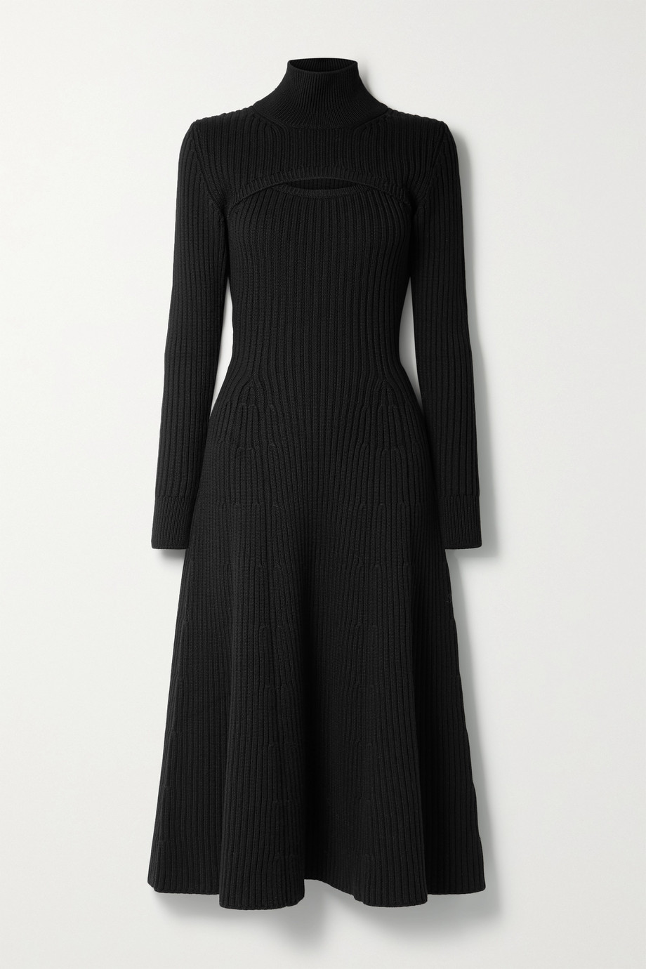 Rosie Assoulin Thousand in One Ways convertible ribbed wool turtleneck midi dress