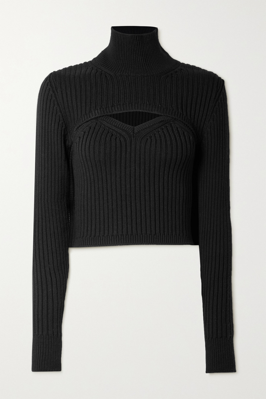 Rosie Assoulin Thousand in One Ways convertible cropped ribbed wool turtleneck sweater