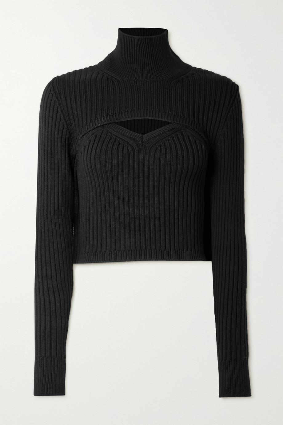 Rosie Assoulin Thousand in One Ways wandelbarer, verkürzter Pullover aus gerippter Wolle mit Stehkragen