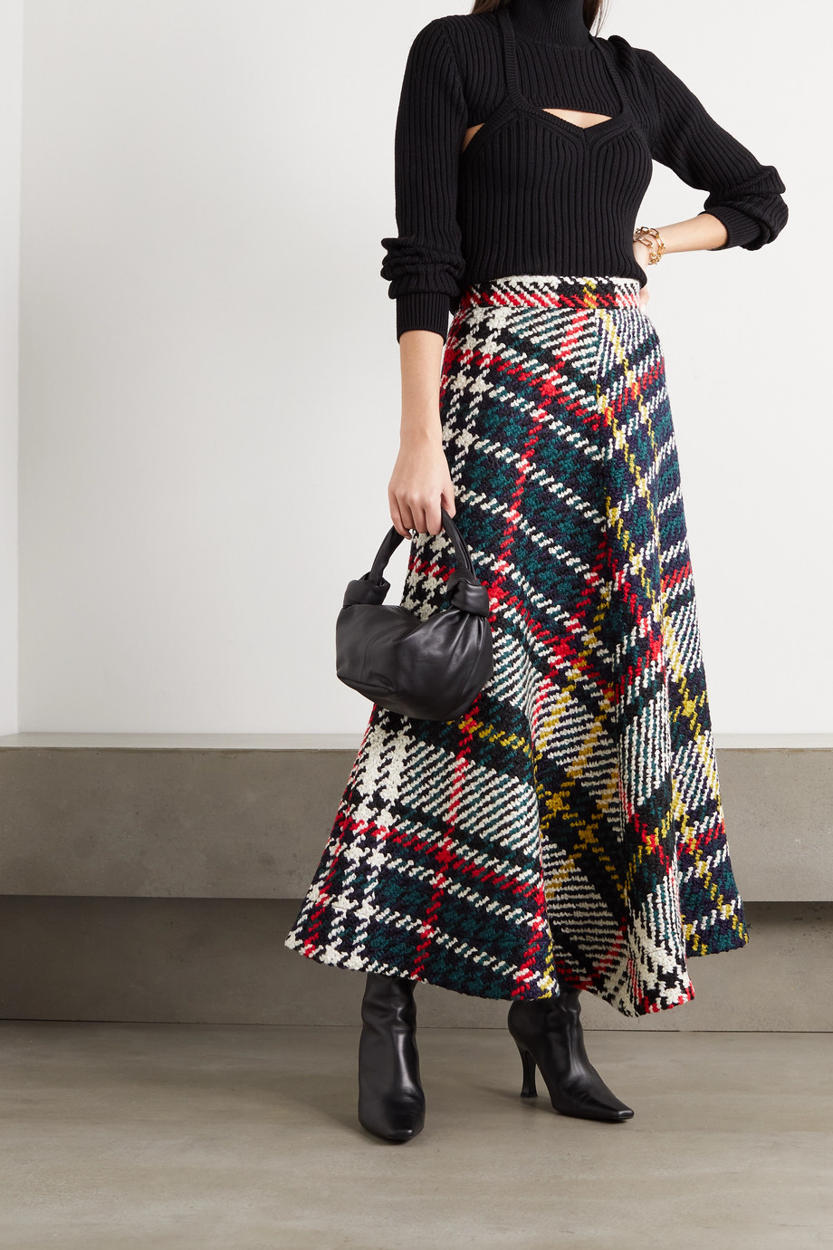 Rosie Assoulin Checked wool and cotton-blend midi skirt