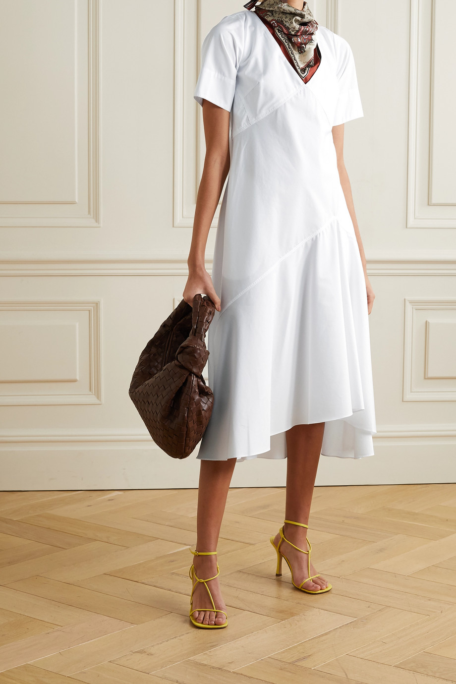 Rosie Assoulin By Any Other Name paisley-print silk twill-trimmed cotton-poplin midi dress