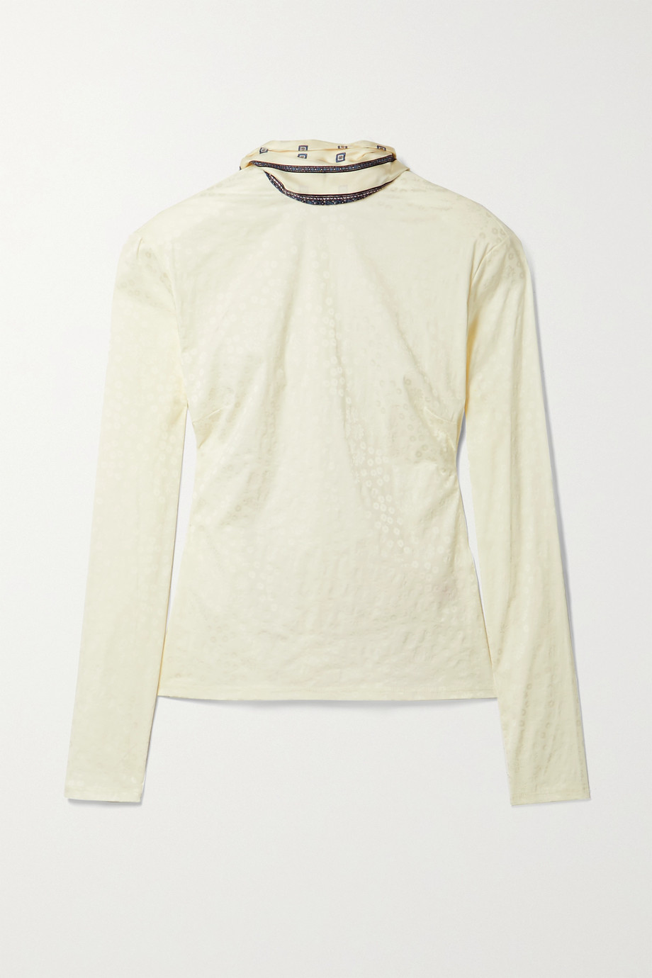 Rosie Assoulin By Any Other Name printed silk twill-trimmed stretch-jacquard turtleneck top
