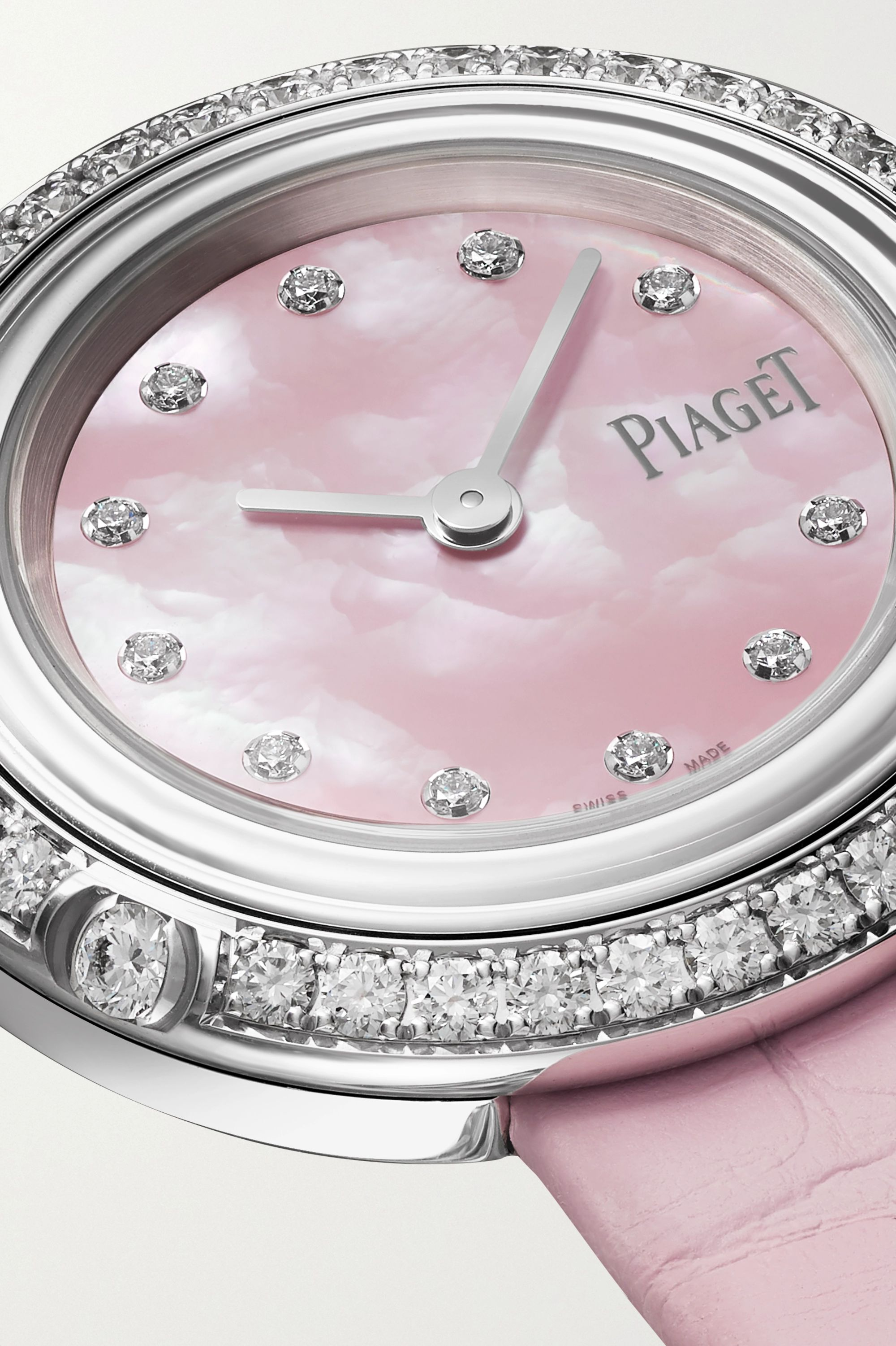 Piaget Possession 29mm 18-karat white gold, alligator and diamond watch
