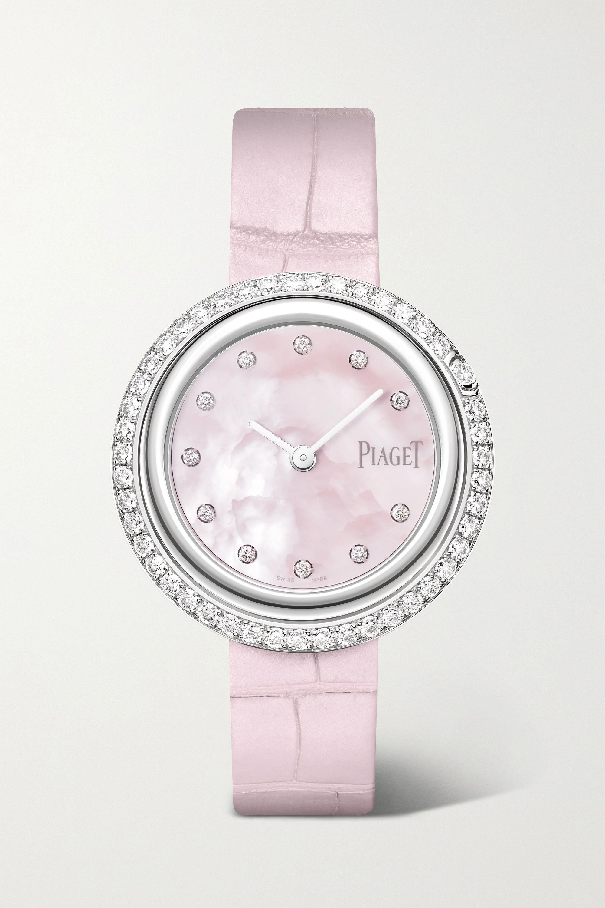 Piaget Possession 34 毫米 18K 白金钻石腕表(短吻鳄鱼皮表带)