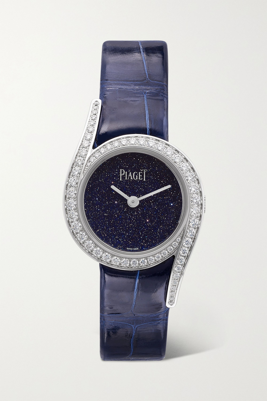 Piaget Limelight Gala 限量版 26 毫米 18K 白金钻石腕表(短吻鳄鱼皮表带)