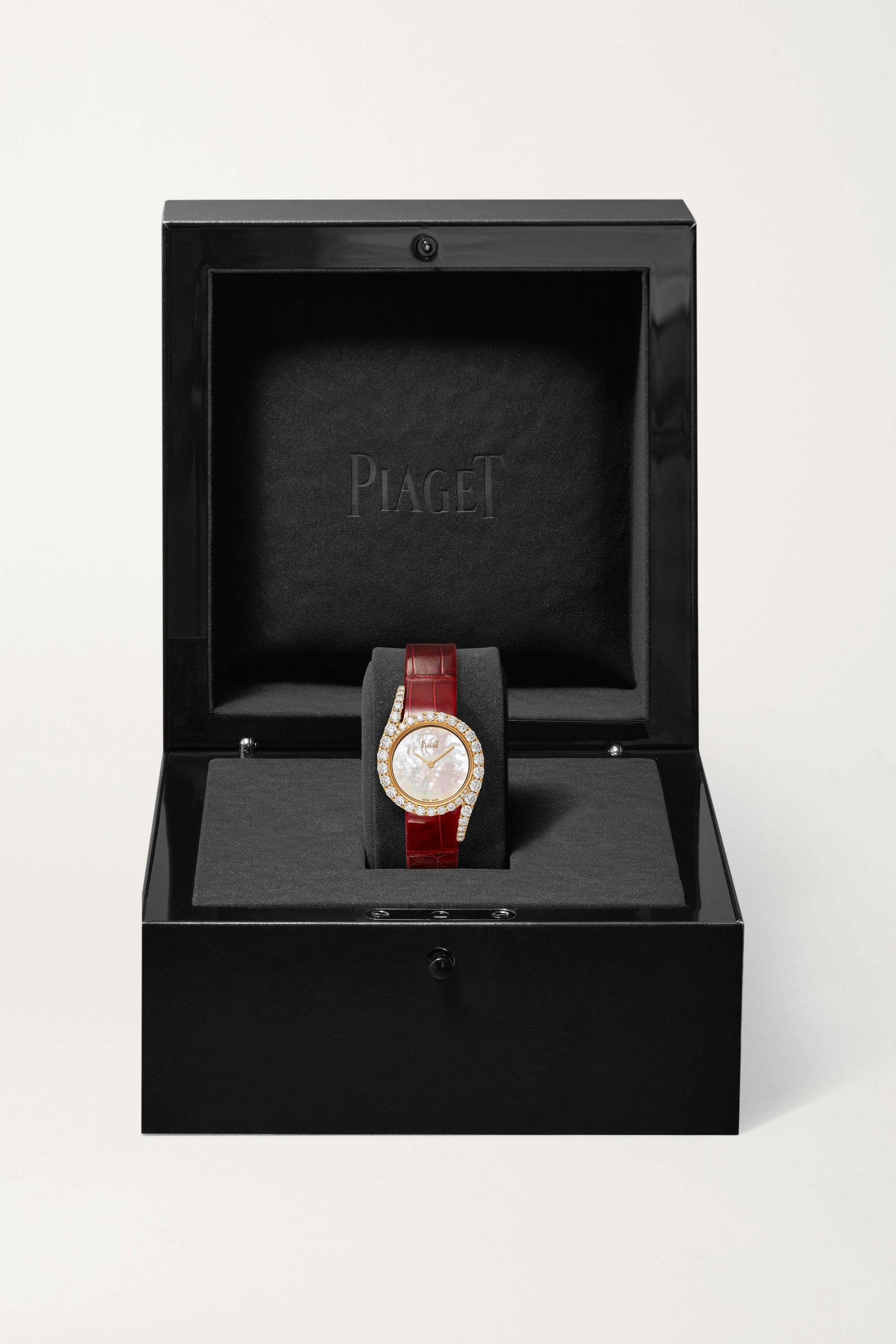 Piaget Limelight Gala 32mm 18-karat rose gold, alligator and diamond watch