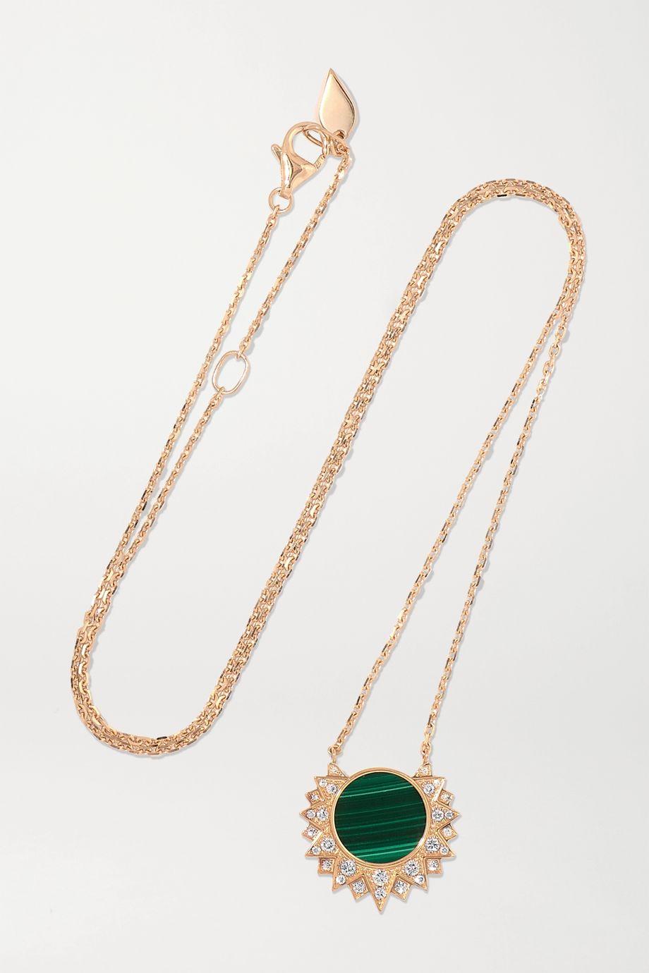 Piaget Sunlight 18-karat rose gold, malachite and diamond necklace
