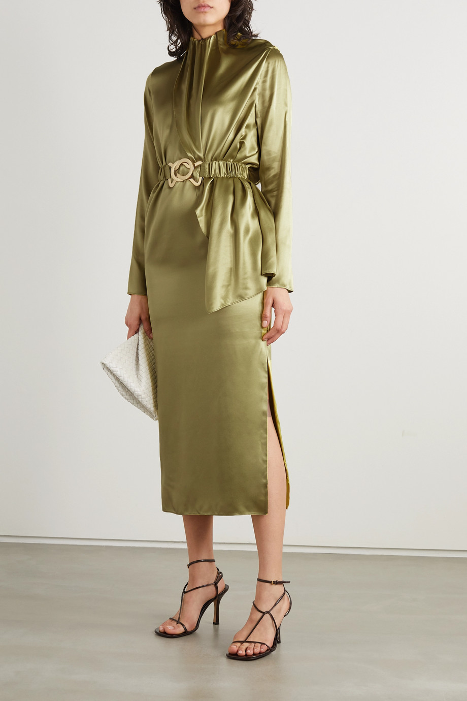 Dodo Bar Or Berna belted draped silk-satin midi dress