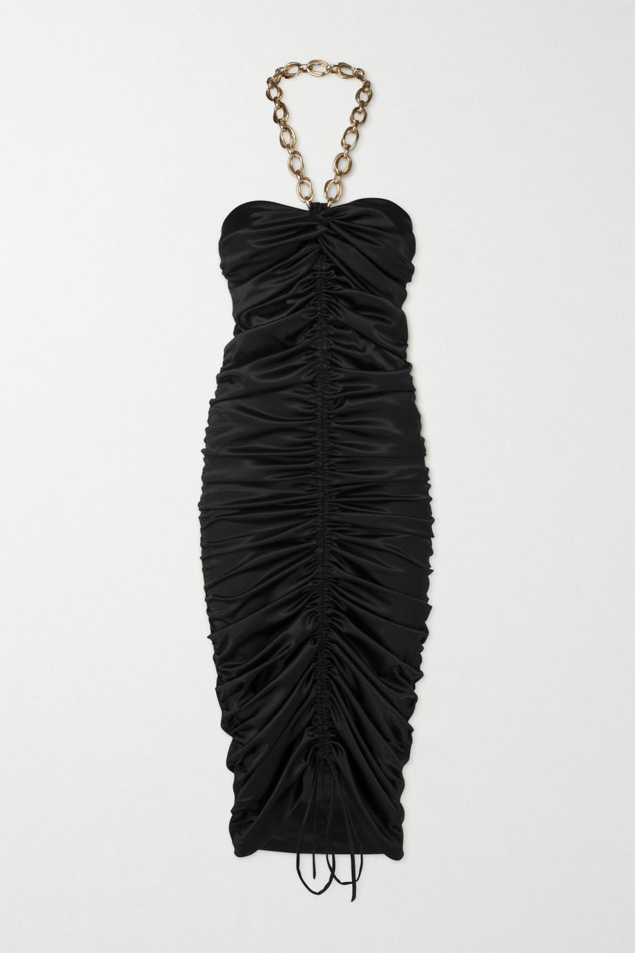 Dodo Bar Or Roxy chain-detail ruched satin halterneck midi dress