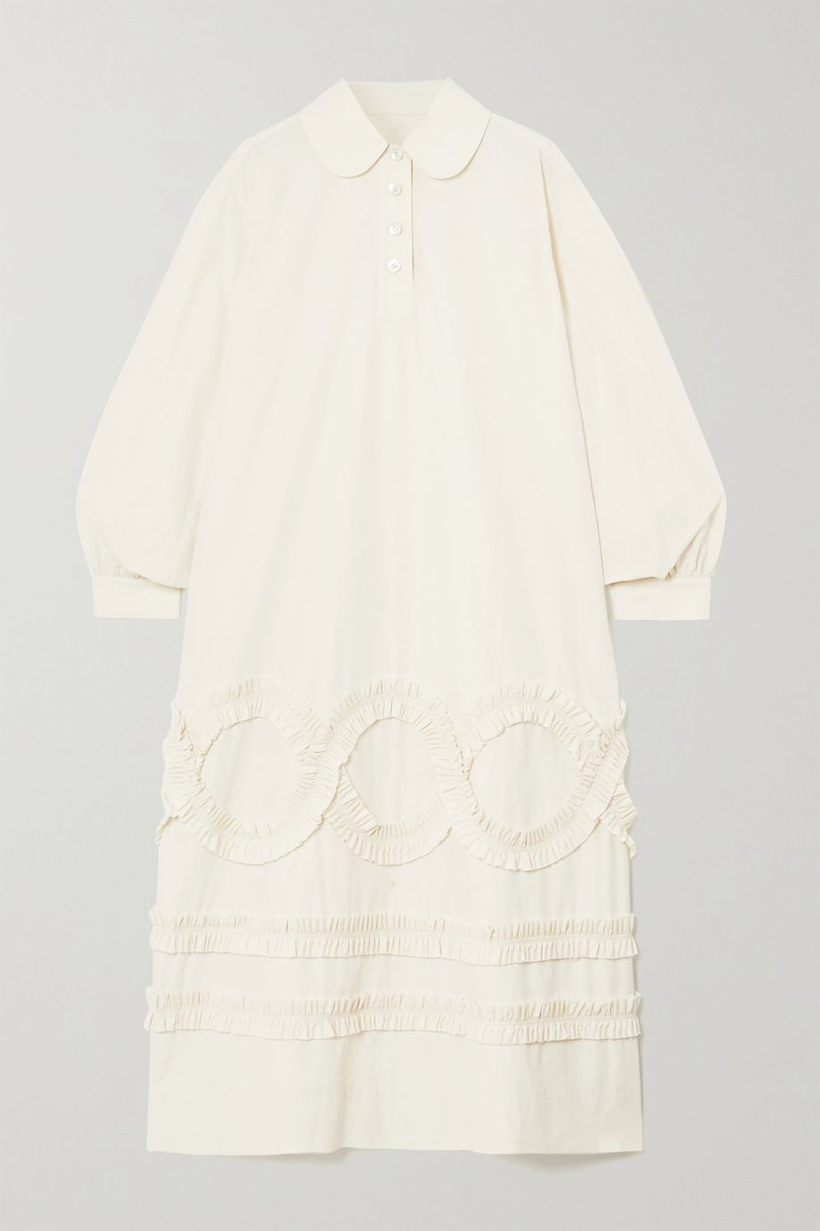 MINJUKIM Ruffled poplin midi shirt dress