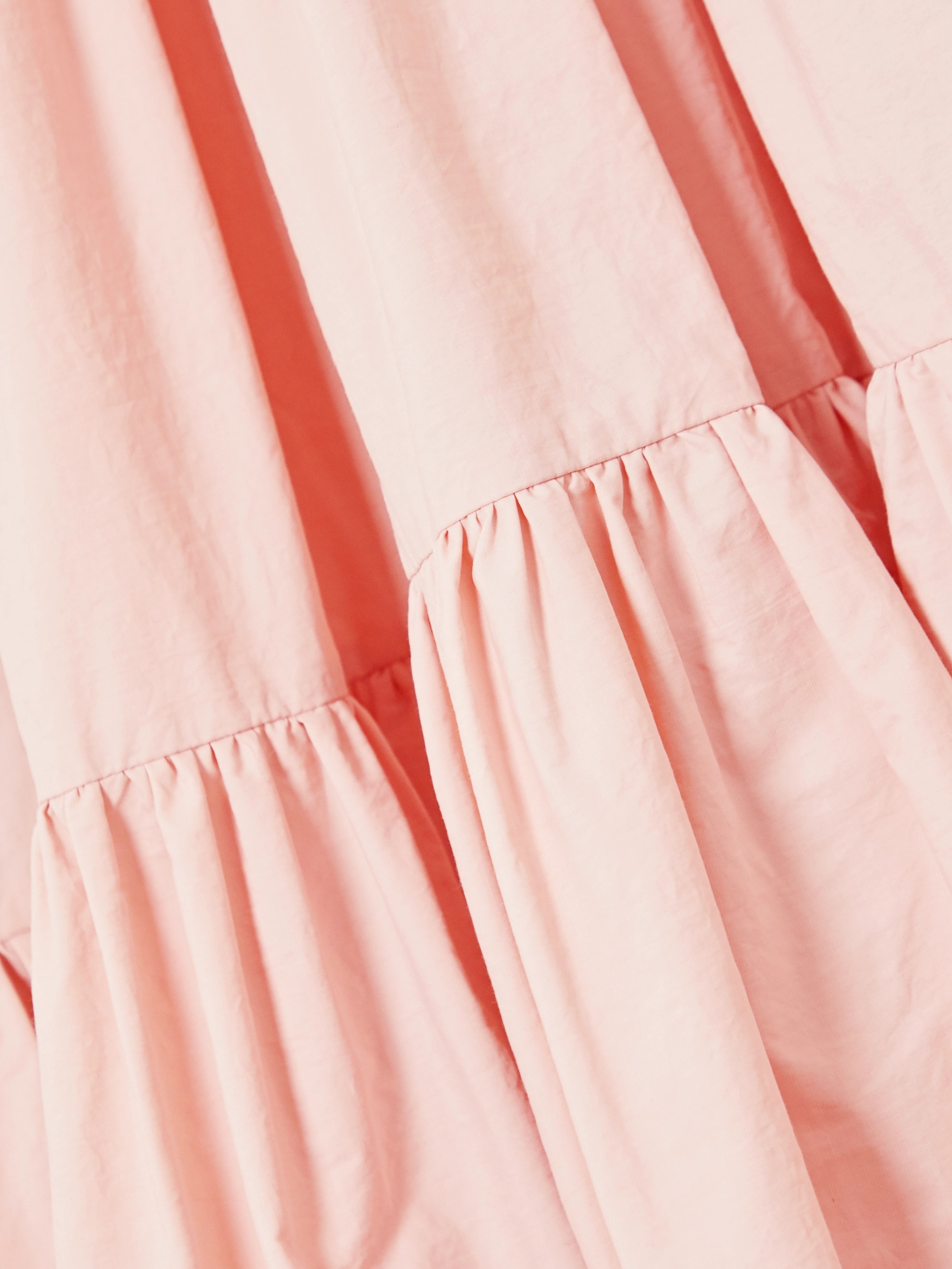 MINJUKIM Robe midi oversize en popeline de coton à volants