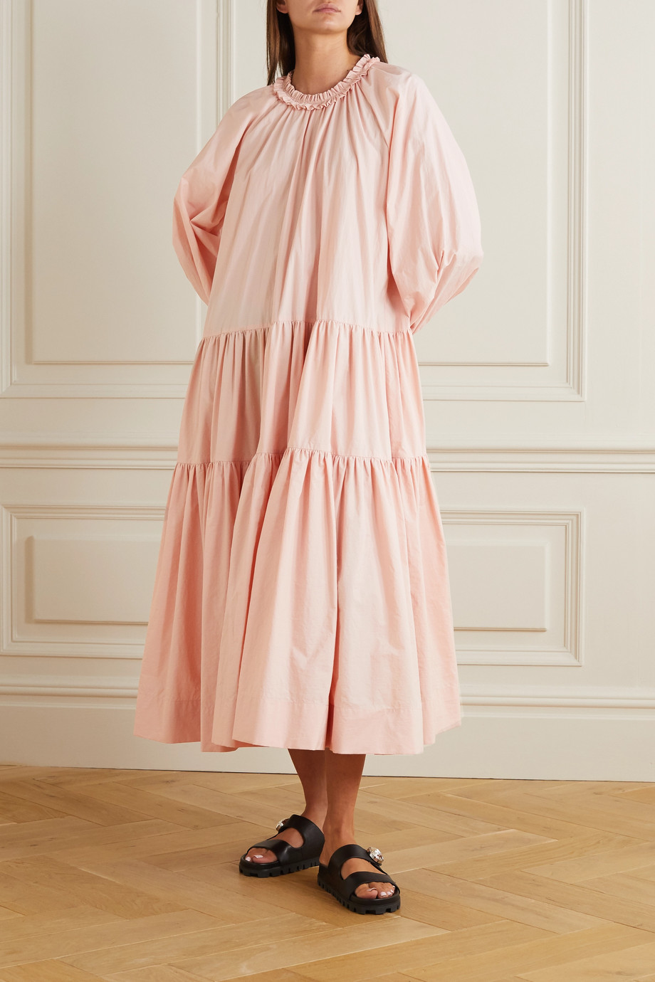 MINJUKIM Oversized ruffled tiered cotton-poplin midi dress