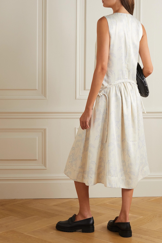 MINJUKIM Belted floral-print cady midi dress