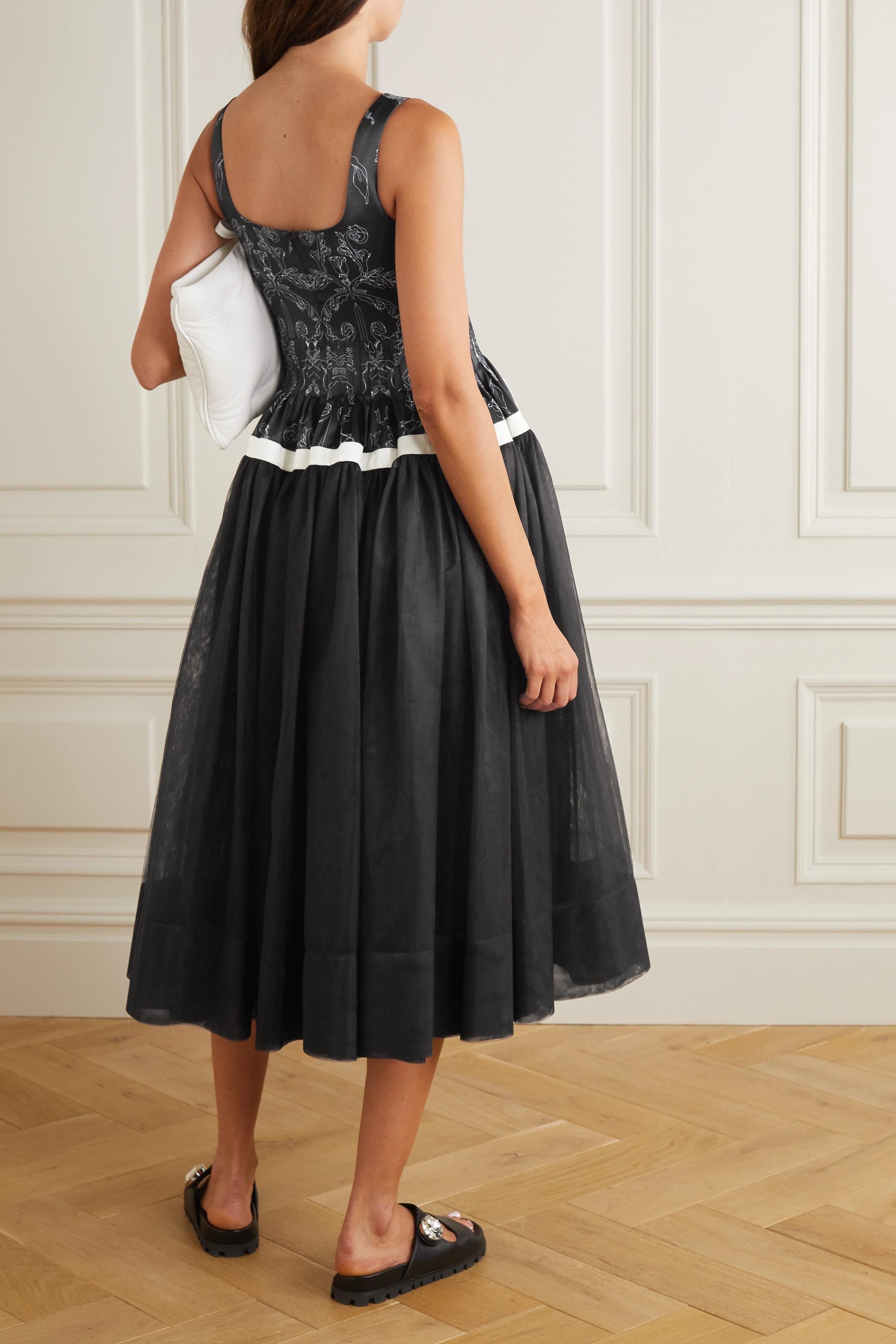 MINJUKIM Paneled printed satin and chiffon midi dress