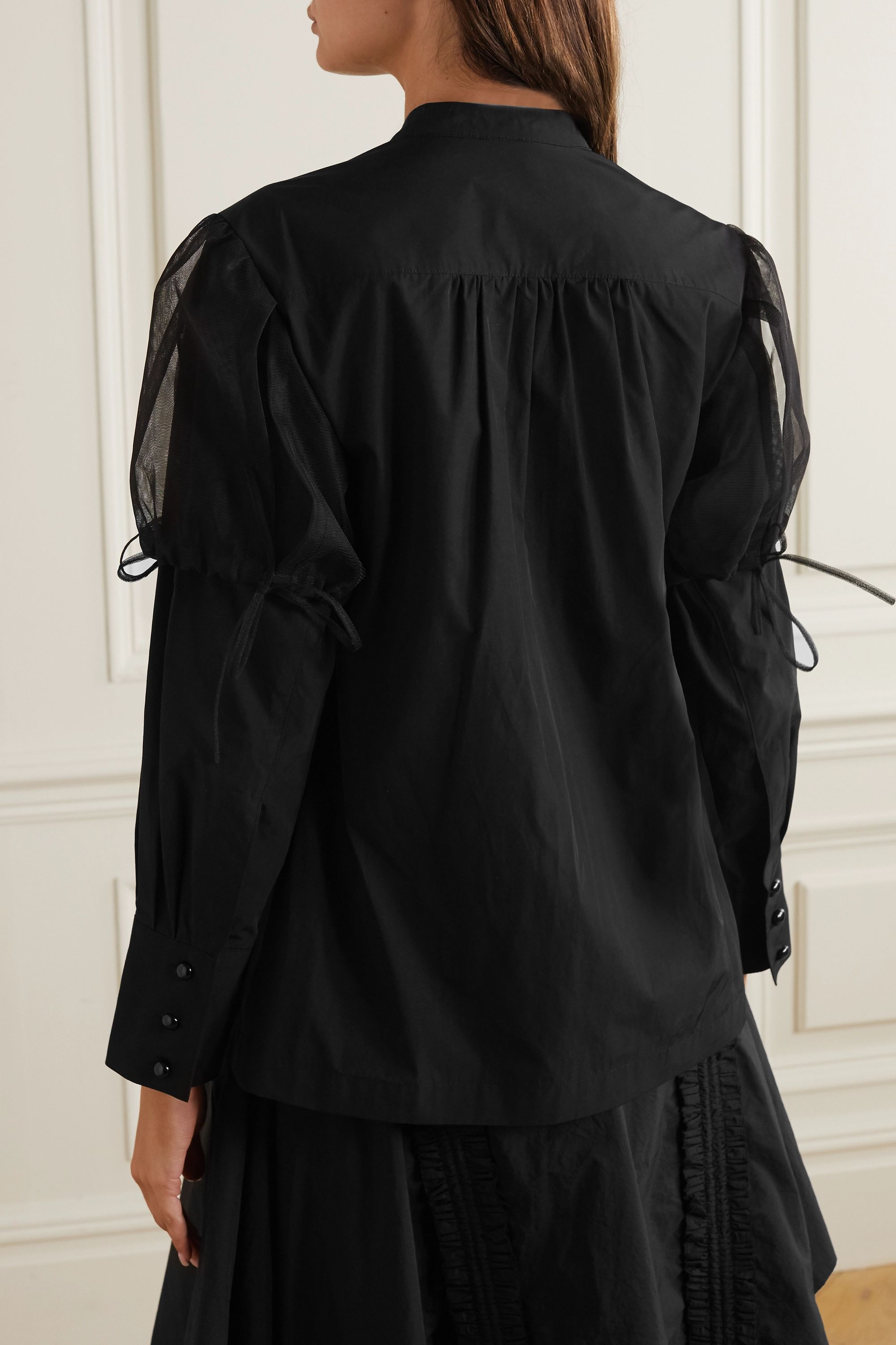MINJUKIM Bow-detailed layered poplin and tulle shirt
